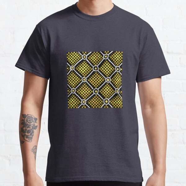 Gold, Black and White Checkered Chain Pattern Classic T-Shirt