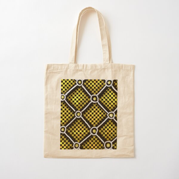 Gold, Black and White Checkered Chain Pattern Cotton Tote Bag