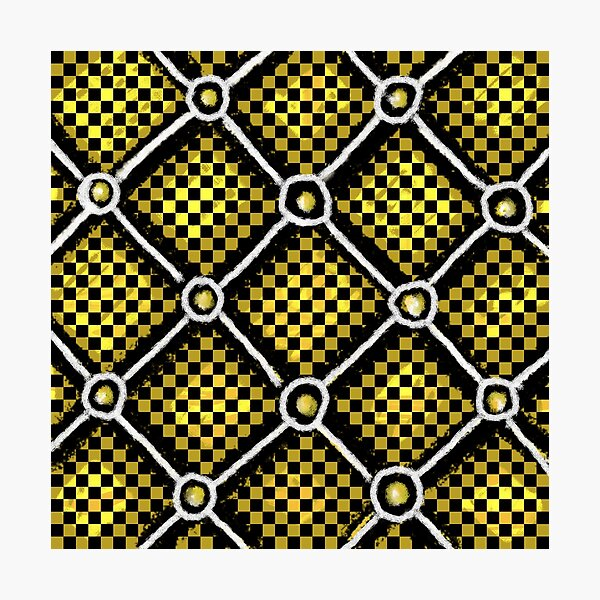 Gold, Black and White Checkered Chain Pattern Photographic Print