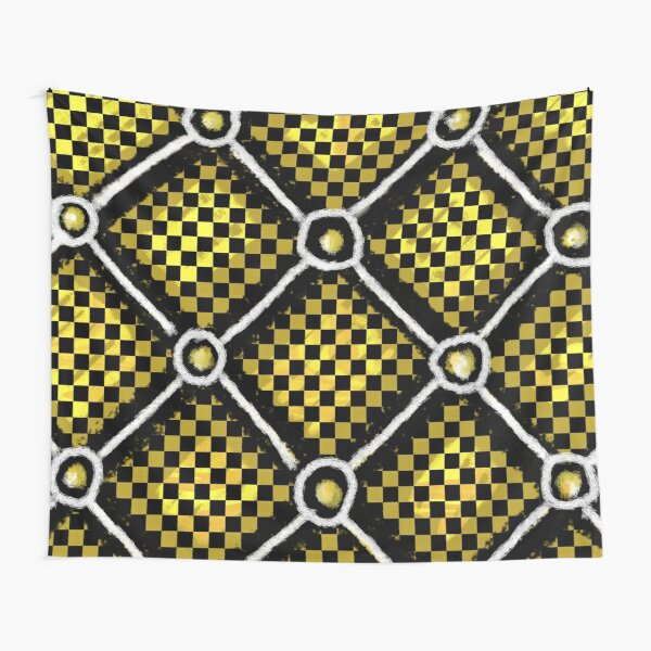Gold, Black and White Checkered Chain Pattern Tapestry