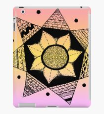Flower Drawing - Peach Ombre Background (Larger) iPad Case/Skin