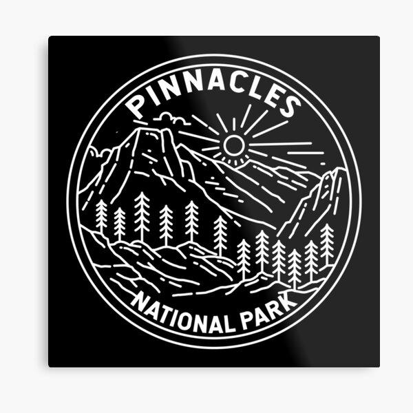 Pinnacles National Park California Monoline Metal Print