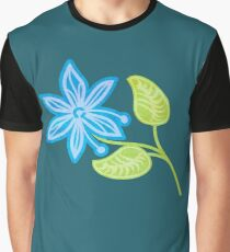 Blue Flower Graphic T-Shirt