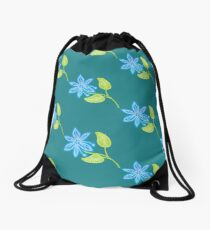 Blue Flower Drawstring Bag