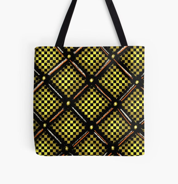 Gold Plated Checkered Board Pattern All Over Print Tote Bag