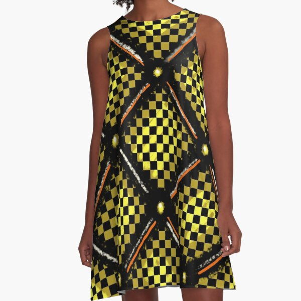 Gold Plated Checkered Board Pattern A-Line Dress