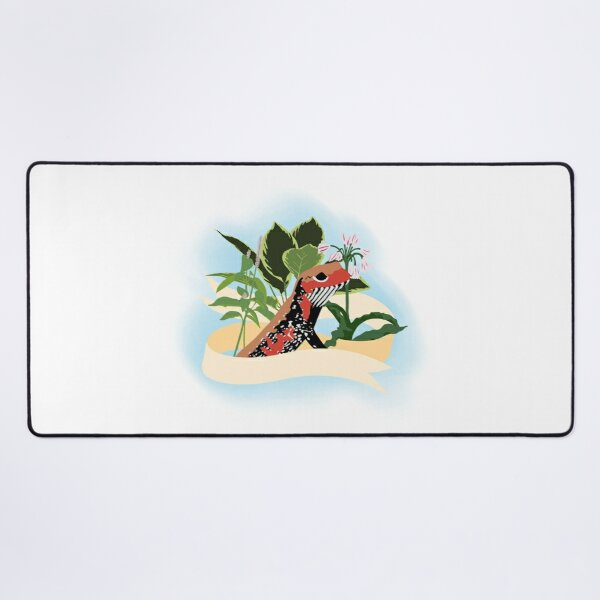 Fire skink and flowers Desk Mat