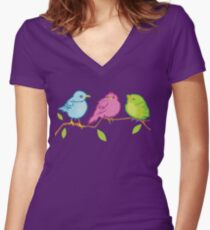 Three Birds Women's Fitted V-Neck T-Shirt