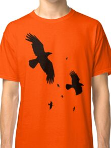 A Murder of Crows In Flight Vector Silhouette Classic T-Shirt