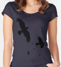 A Murder of Crows In Flight Vector Silhouette Women's Fitted Scoop T-Shirt