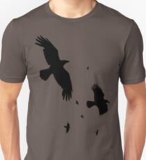 A Murder of Crows In Flight Vector Silhouette Unisex T-Shirt