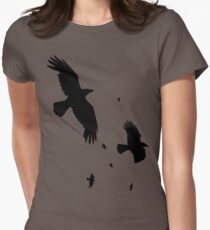 A Murder of Crows In Flight Vector Silhouette Womens Fitted T-Shirt