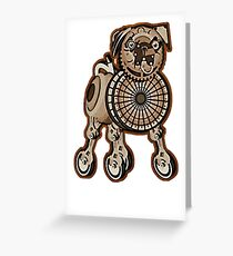 Steampunk Pug Greeting Card
