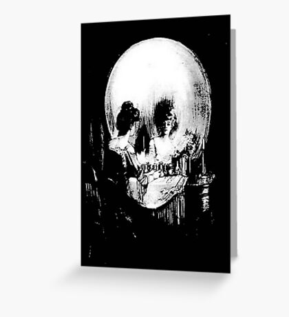 Woman with Halloween Skull Reflection In Mirror Greeting Card