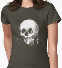 Woman with Halloween Skull Reflection In Mirror Womens Fitted T-Shirt
