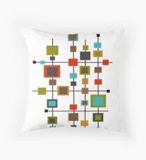 Mid-Century Abstract Squares Throw Pillow
