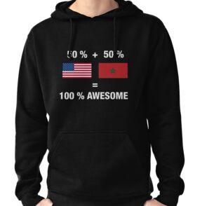 489813f7c10a6 Sudaderas con capucha «Medio marroquí medio americano 100% bandera ...