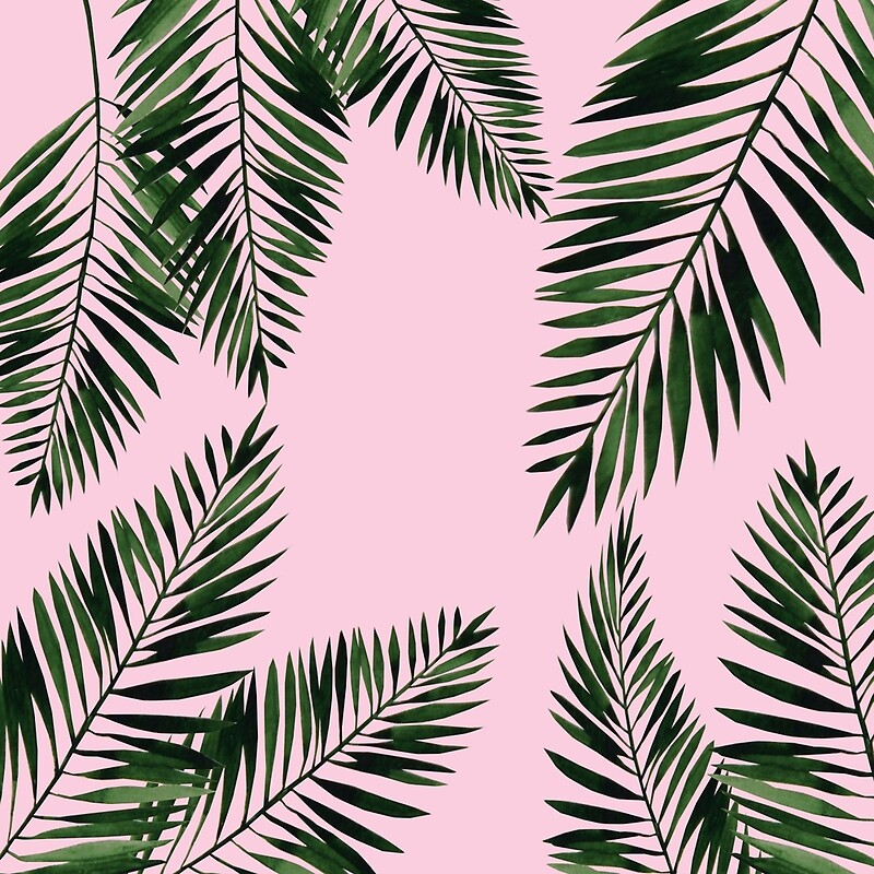 Quot Watercolor Tropical Palm Leaves On Pink Background Quot By