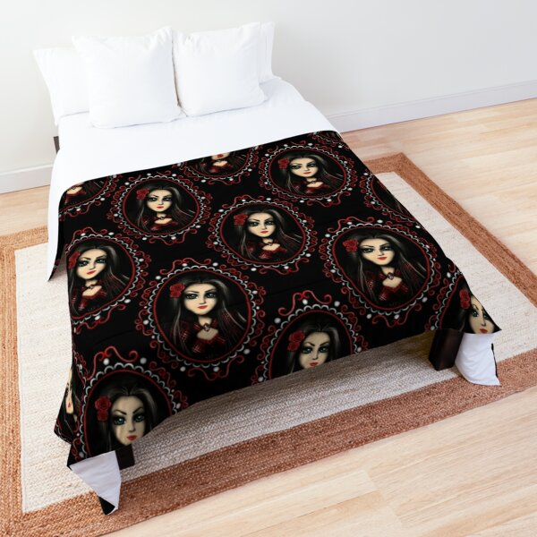 Girl with Red Roses Gothic Girl Portrait Comforter