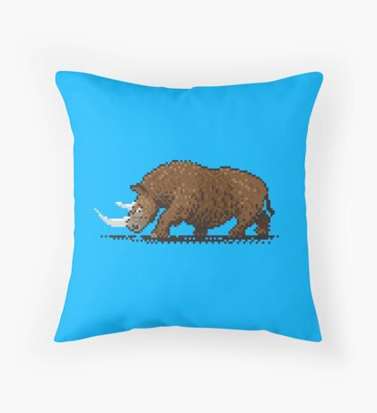 Prehistoric Pixels - Woolly Rhino  Throw Pillow