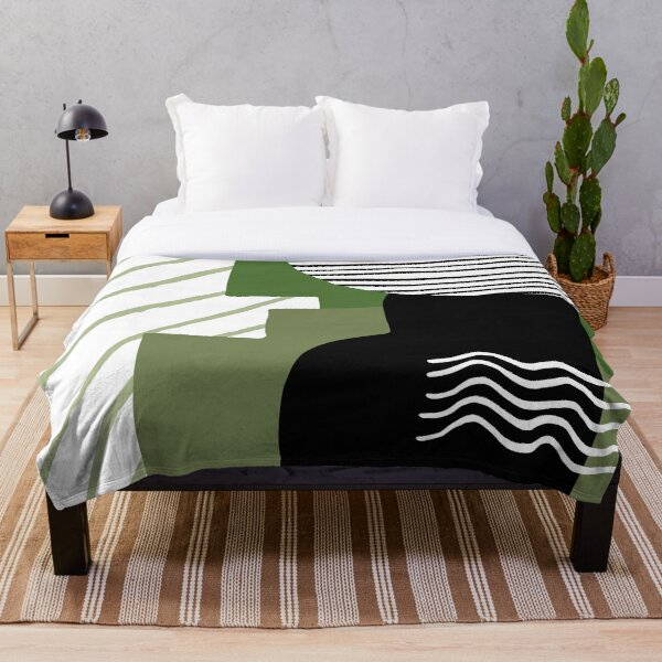 Natural green abstract design Throw Blanket