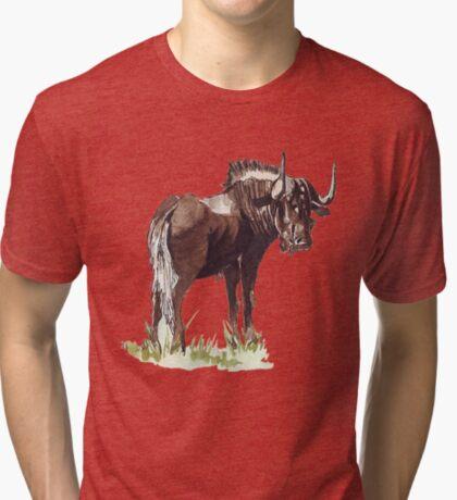 Black Wildebeest (Connochaetes gnou) Tri-blend T-Shirt