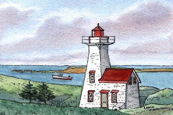New London Lighthouse - Watercolor Pen and Wash by Reece Caldwell