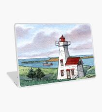 New London Lighthouse - Watercolor Pen and Wash Laptop Skin