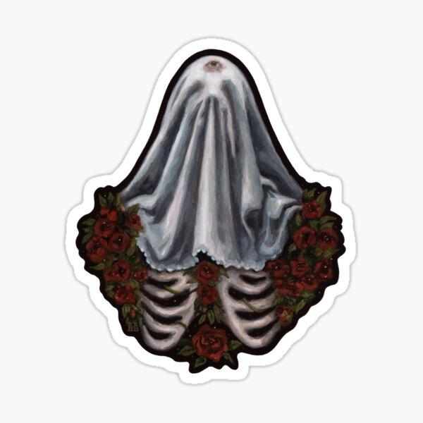 Lonely Ghost Skeleton Dark Surreal Gouache  Sticker