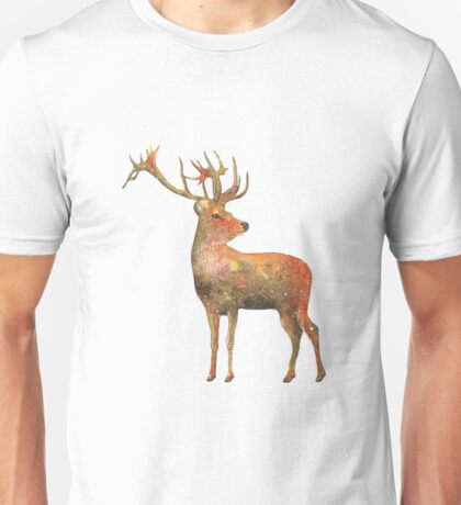 Red deer Stag watercolour winter design  T-Shirt