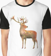 Red deer Stag watercolour winter design  Graphic T-Shirt