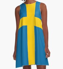 Swedish Flag T-Shirt - Sweden Sports Team Sticker A-Line Dress