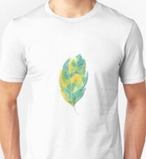 Leaf in green and blue autumn colours watercolour winter design  T-Shirt