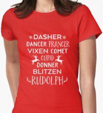 DASHER DANCER PRANCER VIXEN COMET CUPID DONNER BLITZEN RUDOLPH Women's Fitted T-Shirt