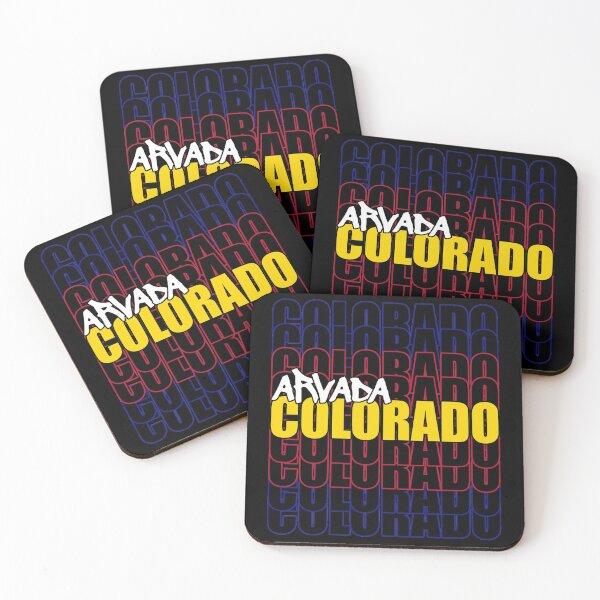 Arvada Colorado State Flag Typography Coasters (Set of 4)