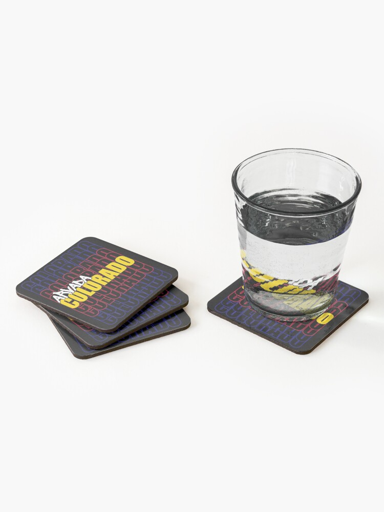 Alternate view of Arvada Colorado State Flag Typography Coasters (Set of 4)