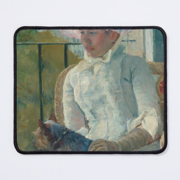 Young Girl at a Window With Dog Oil Painting by Mary Stevenson Cassatt Mouse Pad