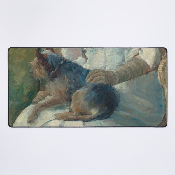 Young Girl at a Window With Dog Oil Painting by Mary Stevenson Cassatt Desk Mat