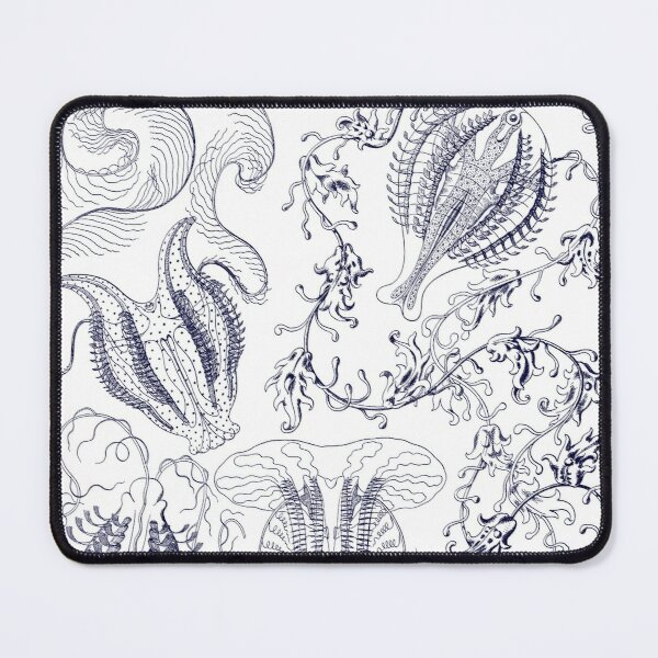 Micro-Nature no 12- Navy Blue on White background Mouse Pad