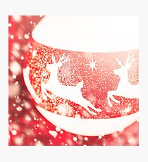 Christmas composition in white and red colors Photographic Print