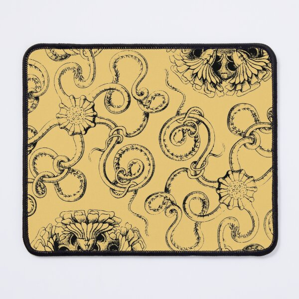Micro-Nature no 10 - White on Mustard background Mouse Pad