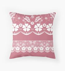Pink with white lace pattern  Throw Pillow