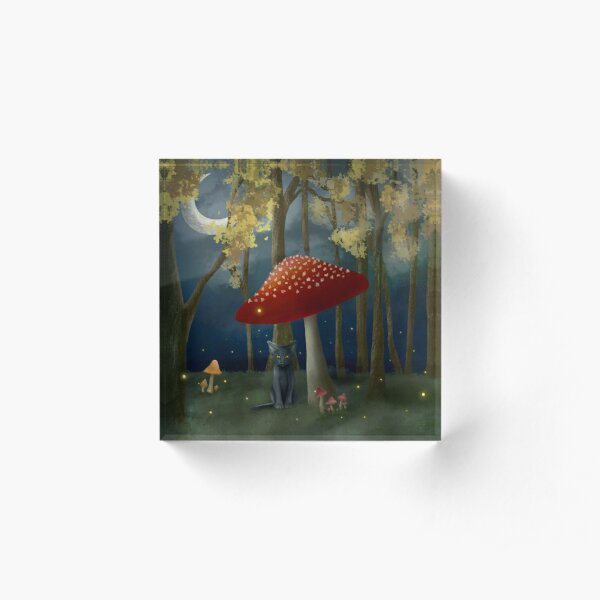 Black Cat in a Fairy Forest Acrylic Block