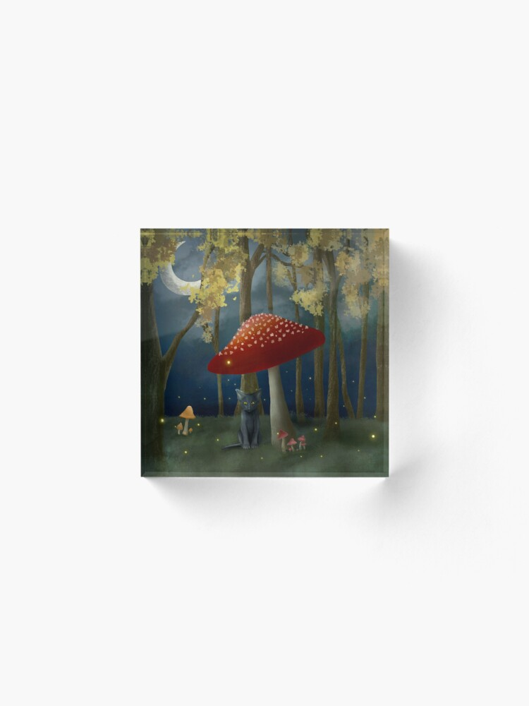 Alternate view of Black Cat in a Fairy Forest Acrylic Block