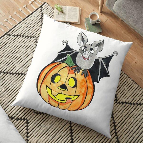 Pumpkin and bat Halloween Floor Pillow
