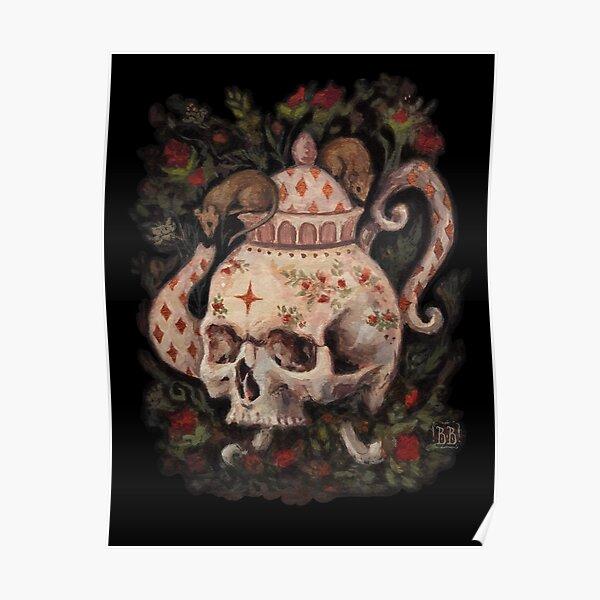 Melancholy Tea Party skull teapot Poster