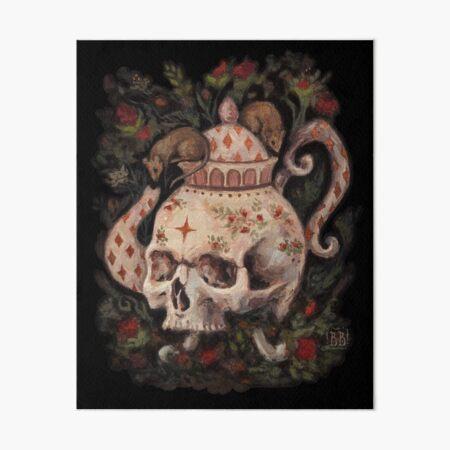 Melancholy Tea Party Surreal skull teapot painting Art Board Print