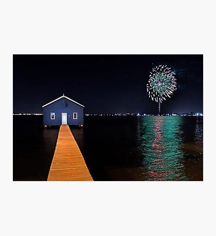Crawley Edge Boatshed Fireworks  Photographic Print