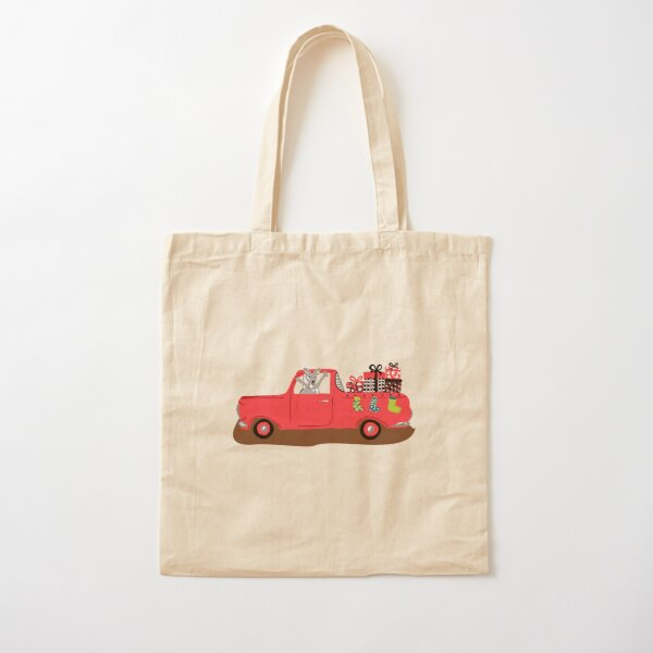 EH Holden Ute filled with Christmas presents and adorned with Christmas stockings with a Kangaroo at the drivers seat! Cotton Tote Bag