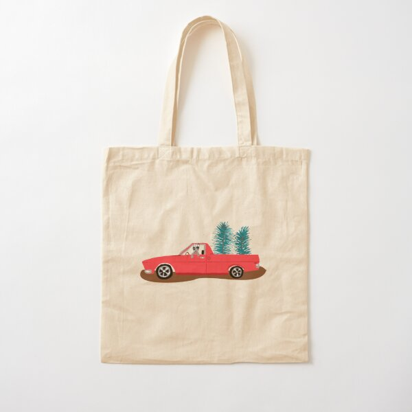 HQ Holden Ute with Christmas trees in the back and a dog hanging out the window Cotton Tote Bag